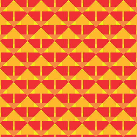 Vector seamless pattern texture background with geometric shapes, colored in red, orange and yellow colors.
