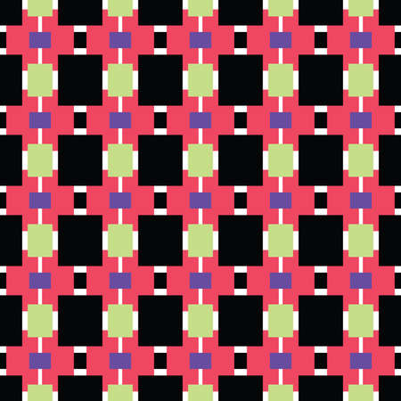 Vector seamless pattern texture background with geometric shapes, colored in red, black, purple, green and white colors.