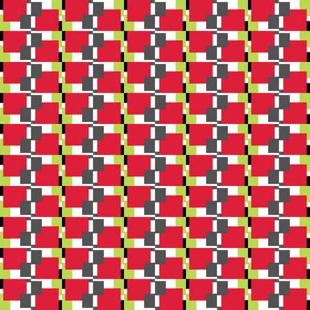 Vector seamless pattern texture background with geometric shapes, colored in red, green, dark grey, black and white colors. Ilustração