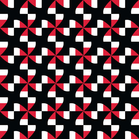 Vector seamless pattern texture background with geometric shapes, colored in black, red and white colors.