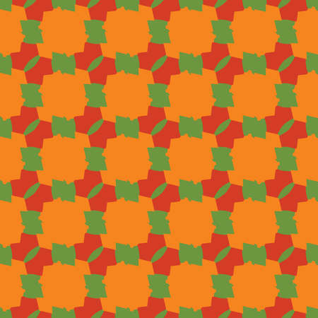 Vector seamless pattern texture background with geometric shapes, colored in orange, red and green colors.