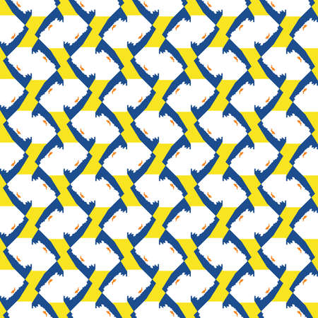 Vector seamless pattern texture background with geometric shapes, colored in blue, yellow, orange and white colors. Ilustração
