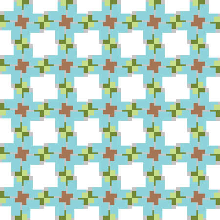 Vector seamless pattern texture background with geometric shapes, colored in blue, brown, green, grey and white colors. Ilustração