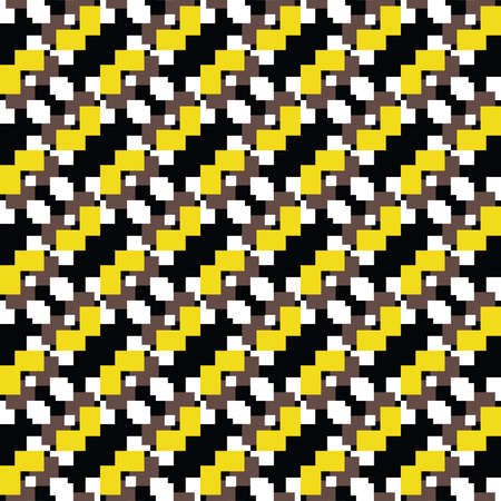 Vector seamless pattern texture background with geometric shapes, colored in brown, black, white and yellow colors. Ilustração