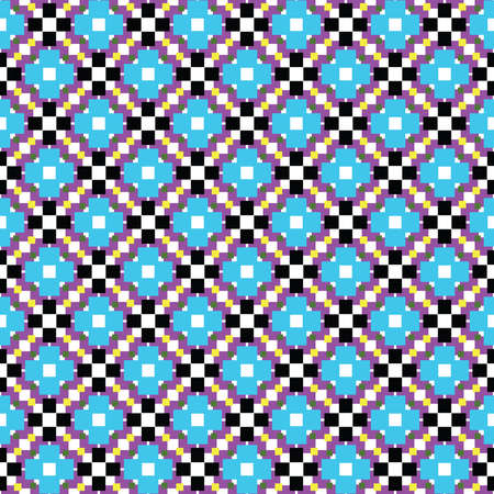Vector seamless pattern texture background with geometric shapes, colored in blue, violet, black, yellow, white and green colors.