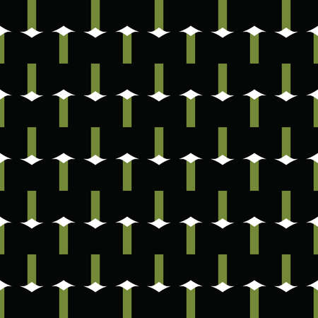 Vector seamless pattern texture background with geometric shapes, colored in black, green and white colors.