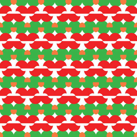 Vector seamless pattern texture background with geometric shapes, colored in green, red, orange and white colors.
