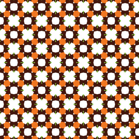 Vector seamless pattern texture background with geometric shapes, colored in orange, brown, green and white colors.