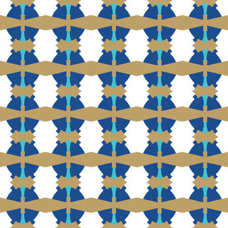 Vector seamless pattern texture background with geometric shapes, colored in blue, brown and white colors.