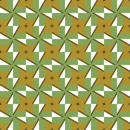 Vector seamless pattern texture background with geometric shapes, colored in green, brown and white colors.