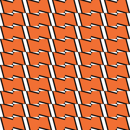 Vector seamless pattern texture background with geometric shapes, colored in orange, black and white colors.