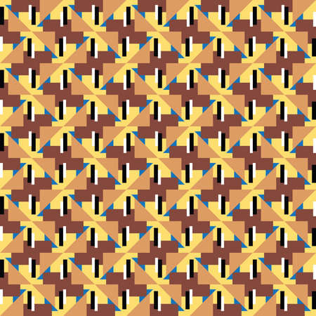 Vector seamless pattern texture background with geometric shapes, colored in brown, yellow, black, white and blue colors. Ilustração