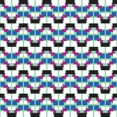 Vector seamless pattern texture background with geometric shapes, colored in dark purple, green, blue, black and white colors. Ilustração