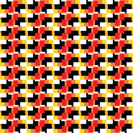 Vector seamless pattern texture background with geometric shapes, colored in red, orange, yellow, black and white colors.