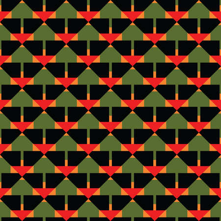 Vector seamless pattern texture background with geometric shapes, colored in black, green, orange and red colors.