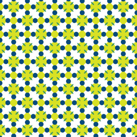 Vector seamless pattern texture background with geometric shapes, colored in yellow, green, blue and white colors. Ilustração