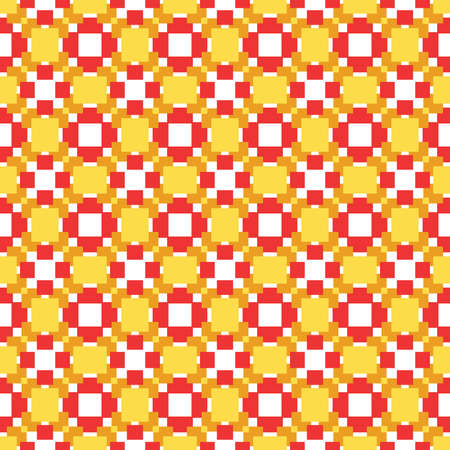Vector seamless pattern texture background with geometric shapes, colored in yellow, orange, red and white colors. Ilustração