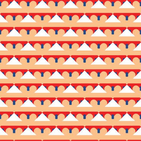 Vector seamless pattern texture background with geometric shapes, colored in orange, blue, red and white colors.
