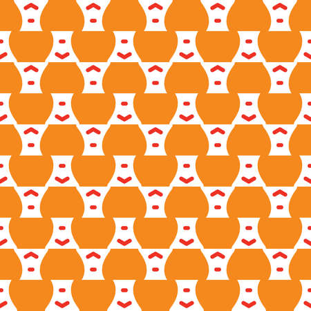 Vector seamless pattern texture background with geometric shapes, colored in orange, red and white colors.