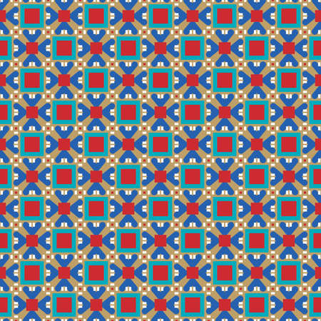 Vector seamless pattern texture background with geometric shapes, colored in brown, red, blue and white colors. Ilustração