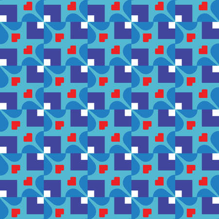 Vector seamless pattern texture background with geometric shapes, colored in blue, red and white colors.
