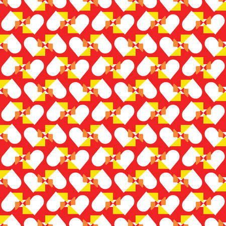 Vector seamless pattern texture background with geometric shapes, colored in red, orange, yellow and white colors. Ilustração