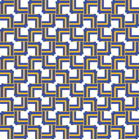 Vector seamless pattern texture background with geometric shapes, colored in blue, yellow and white colors.