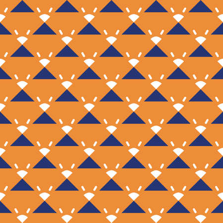 Vector seamless pattern texture background with geometric shapes, colored in orange, blue and white colors. Ilustração