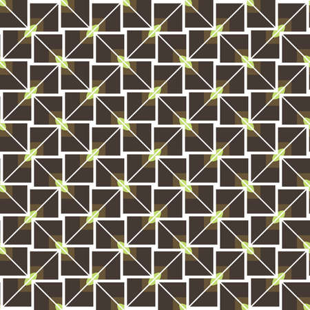 Vector seamless pattern texture background with geometric shapes, colored in brown, green and white colors.