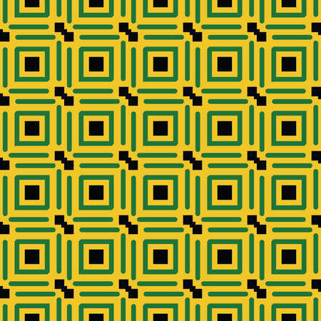 Vector seamless pattern texture background with geometric shapes, colored in yellow, green and black colors.