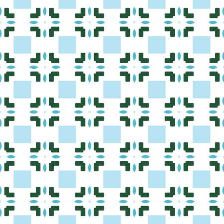 Vector seamless pattern texture background with geometric shapes, colored in blue, green and white colors. Ilustração