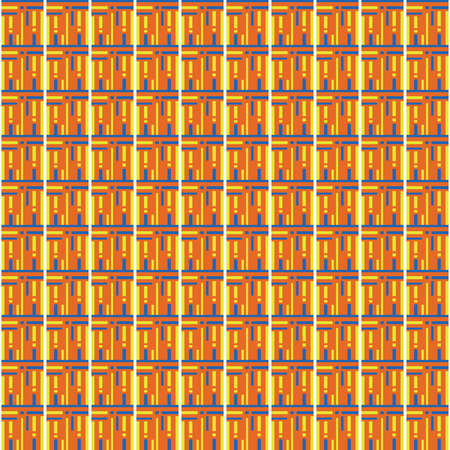 Vector seamless pattern texture background with geometric shapes, colored in orange, blue, white and blue colors.