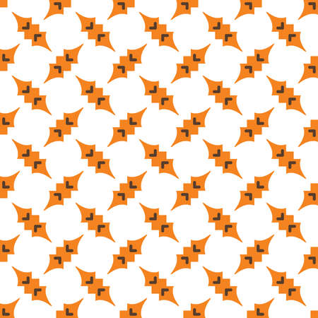 Vector seamless pattern texture background with geometric shapes, colored in orange, brown and white colors.