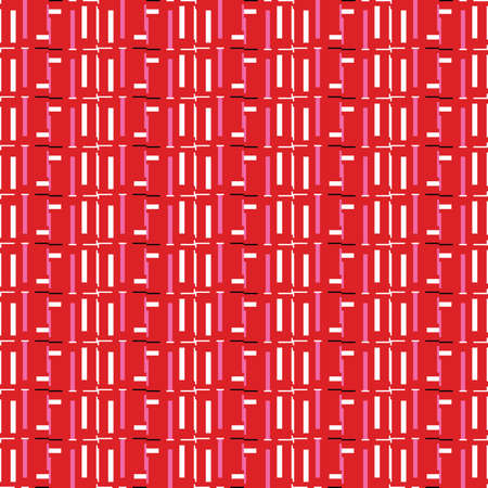 Vector seamless pattern texture background with geometric shapes, colored in red, white, pink and black colors. Ilustração