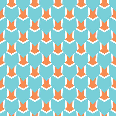 Vector seamless pattern texture background with geometric shapes, colored in blue, orange and white colors. Standard-Bild - 157157607