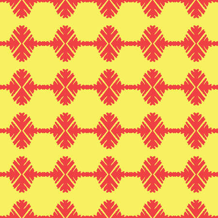 Vector seamless pattern texture background with geometric shapes, colored in red and yellow colors. Illustration
