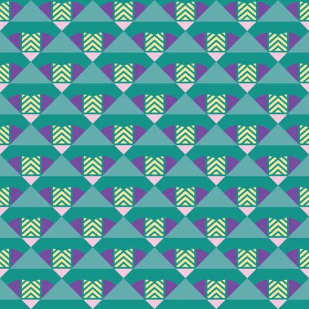 Vector seamless pattern texture background with geometric shapes, colored in green, purple, yellow and pink colors.