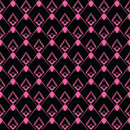 Vector seamless pattern texture background with geometric shapes, colored in black and pink colors.