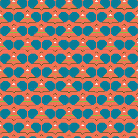 Vector seamless pattern texture background with geometric shapes, colored in blue, orange, green and white colors. Illustration