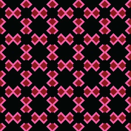 Vector seamless pattern texture background with geometric shapes, colored in black, red and pink colors.