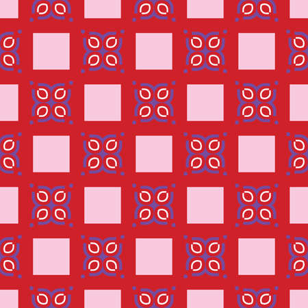 Vector seamless pattern texture background with geometric shapes, colored in red, blue, white and pink colors. Illustration