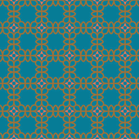 Vector seamless pattern texture background with geometric shapes, colored in blue, brown and pink colors. Illustration