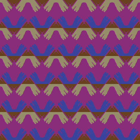 Vector seamless pattern texture background with geometric shapes, colored in purple, blue, brown and green colors. Illustration
