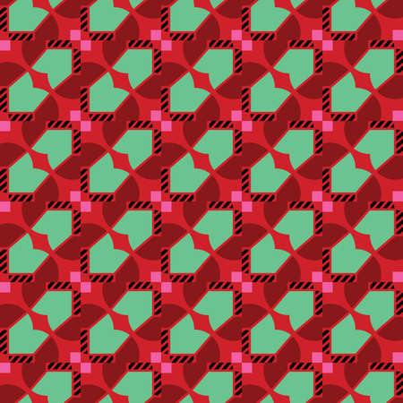 Vector seamless pattern texture background with geometric shapes, colored in red, pink, green and black colors.
