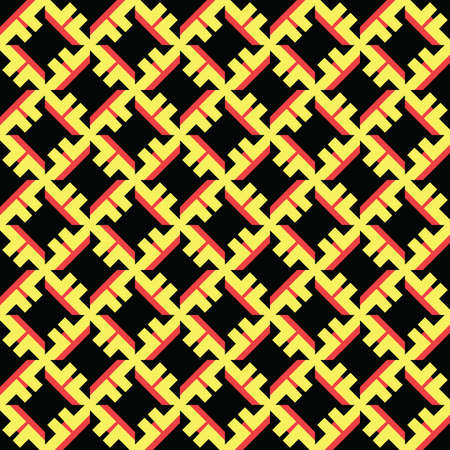 Vector seamless pattern texture background with geometric shapes, colored in black, yellow and red colors.