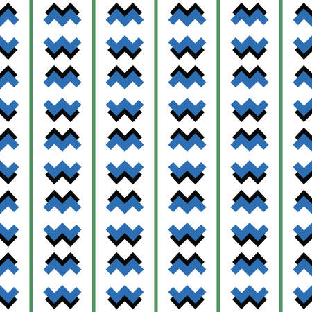 Vector seamless pattern texture background with geometric shapes, colored in blue, black, green and white colors. Illustration