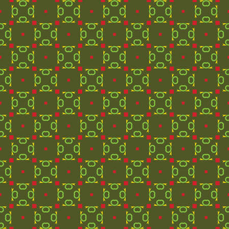 Vector seamless pattern texture background with geometric shapes, colored in green, red and yellow colors.
