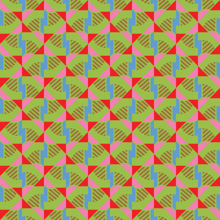 Vector seamless pattern texture background with geometric shapes, colored in green, blue, brown, pink and red colors.