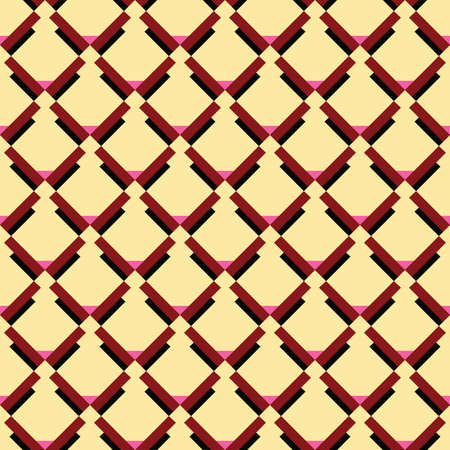 Vector seamless pattern texture background with geometric shapes, colored in yellow, red, pink and black colors. Illustration