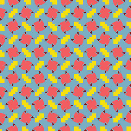 Vector seamless pattern texture background with geometric shapes, colored in red, yellow and blue colors.